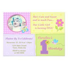 Butterfly 1st Birthday Invitation 5x7 Photo Card
