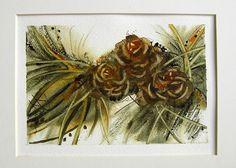 Woodland Pinecones by redbirdcottageart