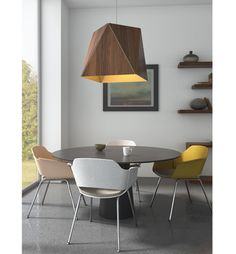 Calx Large Pendant features a faceted wood shade which forms a square aperture. Available with a Walnut or Dark Stained Walnut shade and a Brushed Brass, Brushed Aluminum, or Brushed Rose Gold inner shade finish. Made in the USA. UL and CUL listed. Contemporary Design, Modern Design, Kitchen Design Open, Updated Kitchen, Pendant Lighting, Light Pendant, Modern Lighting, Dining Chairs, Dining Room