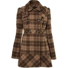 Beige Check Frill Coat ($92) ❤ liked on Polyvore featuring outerwear, coats, jackets, coats & jackets, casacos, women's clothing, checkered coat, ruffle coat, miss selfridge coats and beige coat