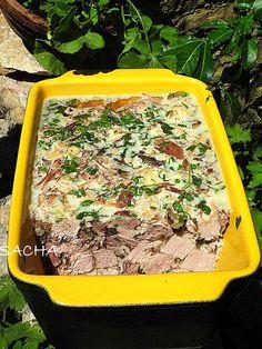 """Jambon persillé au canard Recette pour : 10 à 12 pers Préparation : 40 mn Temps de cuisson : 3 heures """" env """" Version , r..."""