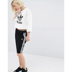 adidas Originals Bonded Lace Skirt ($70) ❤ liked on Polyvore featuring skirts, black, adidas skirt, high-waist skirt, high-waisted pencil skirts, pull on pencil skirt and lace skirt