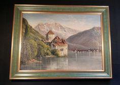 Schloss Chillon am Genfer See. Schönes antikes ariginal Ölgemälde TOP Zustand