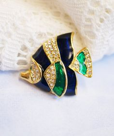 Tropical Blue Green Enamel and Rhinestone by PuddinRidgeCreations