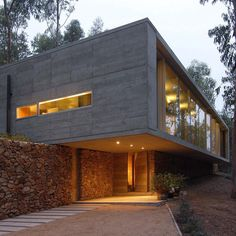 Next up in our roundup of Chilean architecture is a residence designed as a rural retreat that is balanced on top of a dry-stone wall. See more examples of Chilean architecture on dezeen.com/tag/chile  #architecture #Holidayhomes #Houses #Concrete #Chileanhouses #Chile