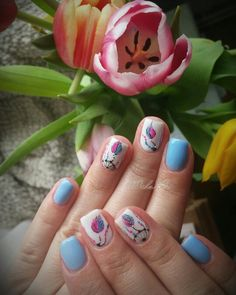 Spring nails, blue nails, dreamcatchernails , feather nails, color of the year