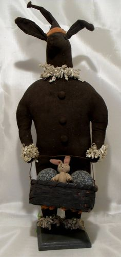 """Doll Handcrafted 1980s  """"Primitive Rabbit"""" SOLD"""
