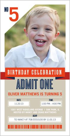 One Awesome Ticket Birthday Invitation