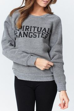 Our boyfriend style slouchy sweatshirt = Spiritual Gangster classic! Super soft tri blend loop terry. Spiritual Gangster Varsity logo. This one will be your go-to! Made in Los Angeles.   Varsity Logo Sweatshirt by Spirtitual Gangster. Clothing - Sweaters - Sweatshirts & Hoodies Florida