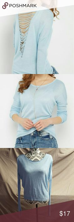 Strappy Open Back Dolman Sweater Cute little sweater by Say What. Size Large. It is a lightweight, baby blue fabric. Super soft! The back has an open V with straps across. Dolman style. Only worn once and in perfect condition. Say What? Sweaters
