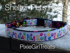 Shelter Pet Rock Dog Collar, Adjustable, Handmade, Ribbon, Fabric Collar, Side…