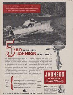 "1950 JOHNSON ""MODEL TN"" 5 HP OUTBOARD MOTOR AD"