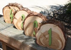 Rustic Wedding, Table Numbers, Set of 10, wood slice with raised number, painted to coordinate, cedar tree slice, freestanding, party event by tricia16designs on Etsy