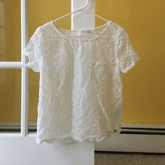 Abercrombie & Fitch sheer tee with velvet detail Great condition, sheer material, patterns are in white velvet, pocket on left breast Abercrombie & Fitch Tops Tees - Short Sleeve