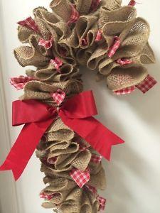 Candy Cane Country Door Burlap Rag Wreath With Bow Christmas Mesh Wreaths, Christmas Gift Decorations, Burlap Christmas, Holiday Crafts, Christmas Ornaments, Holiday Ideas, Christmas Ideas, Christmas Tree, Diy Wreath