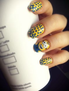 interlocked dots  minion nail art check out www.ThePolishObsessed.com for more nail art ideas.