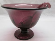 Vintage Purple Amethyst Glass Footed Sauce Bowl with Glassware Spoon Ladle