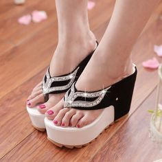 Flip Flops High Heels Platforms (Black, Purple)