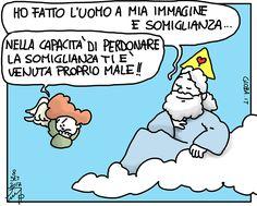 Ho fatto l'uomo a mia immagine e somiglianza... don Giovanni Berti   Le vignette di gioba.it (tratta da www.gioba.it)