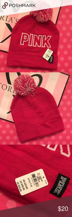 VS PINK POM POM BEANIE VS PINK Beanie Brand new with tags PINK Victoria's Secret Accessories Hats
