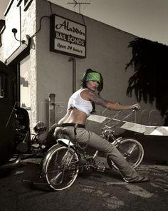 Ghetto Pinup Girl on Lowrider Cruiser Bike