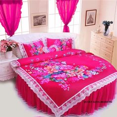 Find More Information about FREE SHIPPING round bedding sets duvet cover cotton super king round bed rug wedding bedding lace princess pink rose round bed,High Quality bedding waterproof,China lace Suppliers, Cheap lace leggings plus size from Queen King Bedding Set  on Aliexpress.com