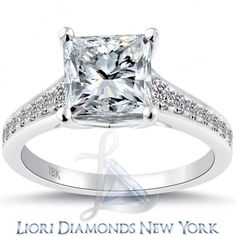 3.27 Carat G-SI1 Certified Princess Cut Diamond Engagement Ring 18k White Gold - Liori Exclusive Engagement Rings - Engagement - Lioridiamonds.com