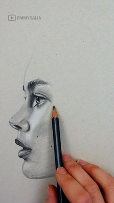Graphite on Grey Toned paper. Shading a face by Emmy Kalia Girl Drawing Sketches, Art Drawings Sketches Simple, Art Drawings Beautiful, Portrait Sketches, Realistic Drawings, How To Shade Drawings, Fairy Drawings, Drawing Portraits, Watercolor Portraits