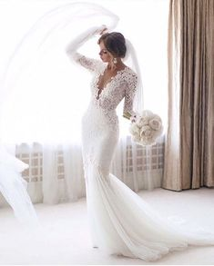 Elegant Long Sleeve Mermaid Wedding Dresses Sexy Deep V Beading Bridal Gowns - Long Sleeve Wedding Dresses Long Wedding Dresses, Long Sleeve Wedding, Bridal Dresses, Wedding Gowns, Wedding Bells, Bridesmaid Dresses, Lace Weddings, Modest Dresses, Destination Wedding Dresses