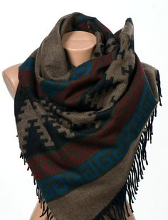 Brun et rouge et bleu et vert et noir ethnique patron de châle ou foulard. Automne accessores unisexe. Hiver Long foulard. Écharpe de couverture.