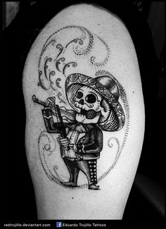 mariachi skull tattoo, mariachi day of the dead by redtrujillo.deviantart.com on @DeviantArt