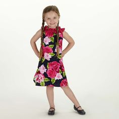 Girls Navy Pink Rose Ruffle Neck Dress