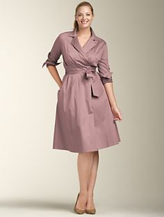 Plus Size Blue Sateen Wrap Dress (Talbots) Muslim Fashion, Modest Fashion, Fashion Dresses, Plus Size Dresses, Plus Size Outfits, Cute Dresses, Plus Size Looks, Plus Size Sewing, Chubby Fashion