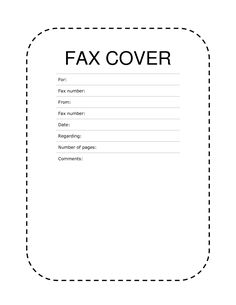 Fax Cover Sheet Dashed Lines