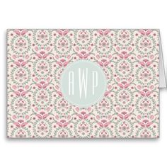 Vintage Inspired Pink and Green Pattern Monogram Card from Jill's Paperie