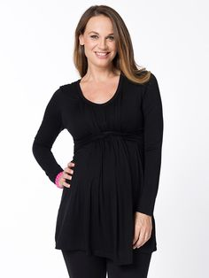 Weave Front Maternity Tunic from breastmatesconz — This flattering and versatile pregnancy tunic is perfect for wearing as your bump expands Woven front detail hides a discreet breastfeeding opening - Pregnancy Nursing Tunic, Maternity Tights, Post Baby Body, Breastfeeding Clothes, Stylish Maternity, Pregnancy, Tunic Tops, Bump, Weave