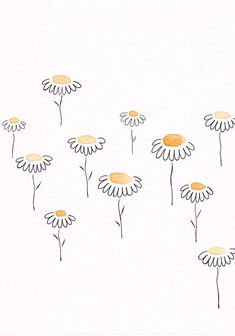 shared by Siret Roots - 200 Bullet Journal Ideas and Doodles to Rock Your Bu Jo -Original yellow flowers drawing. shared by Siret Roots - 200 Bullet Journal Ideas and Doodles to Rock Your Bu Jo - Art Doodle, Doodle Drawings, Easy Drawings, Doodle Art Journals, Music Drawings, Watercolor And Ink, Watercolor Paintings, Painting Art, Flower Doodles