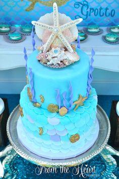 Mermaid themed birthday cake from a Vintage Glamorous Little Mermaid Birthday Party on Kara's Party Ideas | KarasPartyIdeas.com (45)