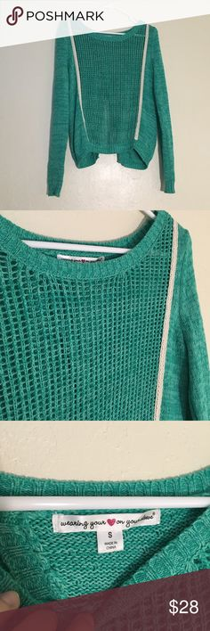 Teal Knit Crossover Back Sweater Size: small // • teal loose knit sweater • back features crossover opening • great condition Sweaters Crew & Scoop Necks