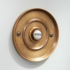Circular Door Bell Push Antique Satin Brass: A circular solid brass bell push diameter, finished in our unlacquered antique satin brass. Doorbell Button, Window Furniture, Traditional Doors, Window Hardware, Cabin Homes, Polished Nickel, Solid Brass, Antique Brass, Satin