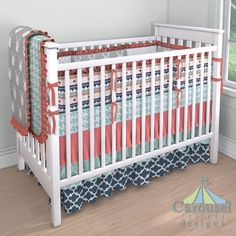 Crib bedding in Mint Modern Houndstooth, Silver Gray and White Deer Head, Solid…