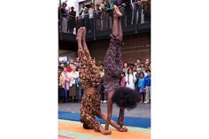 Ethiopian Acrobats. A boy and a girl combining dance and acrobatics together.