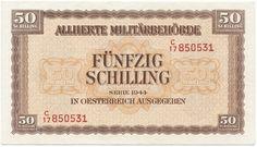 50 Schilling 1944 (Militärschilling) Österreich Nachkriegszeit in Österreich Social Security, Vienna, History, Luxury, World, Cards, Coining, Stamps, Post War Era