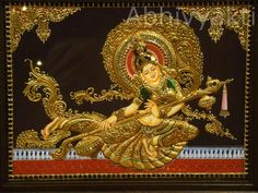 learn tanjore craft at Abhivyakti The School of Fine Arts and Crafts Peacock Painting, Mural Painting, Mural Art, Fabric Painting, Mysore Painting, Tanjore Painting, Rajasthani Painting, Indian Traditional Paintings, Indian Art Paintings