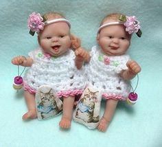 OOAK Handsculpted Polymer Clay Miniature 3.5 Inch Twin Baby Girl Art Dolls