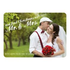 First Christmas as Mr. and Mrs. Two Photo Card
