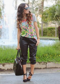 Nany's Klozet: Leather joggers and floral...