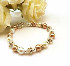 Champagne Pearl Bead Bracelet Champagne and by crystaljemscouk