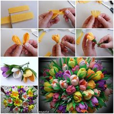 DIY Beautiful Bouquet of Crepe Paper Crocuses  https://www.facebook.com/icreativeideas crepe paper flowers tutorial, beauti bouquet, crepe flowers decoration, tulip bouquet