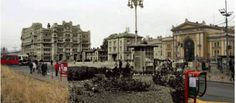 On the left a mirage of destroyed building in the 1941.bombing of Belgrade.